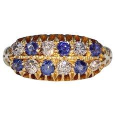 Edwardian 18k Gold Sapphire Diamond Ring Hallmarked 1911