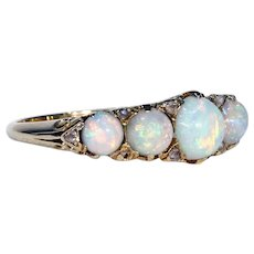 Victorian 5 Stone Opal Diamond Ring Half Hoop 18k Gold