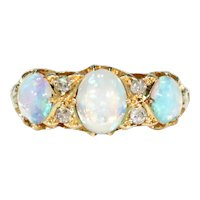 Edwardian Triple Opal Diamond Ring 18k Gold 1904