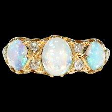 Edwardian Triple Opal Diamond Ring 18k Gold 1904