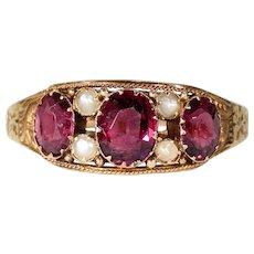 Victorian Almandine Garnet Pearl Ring Gold