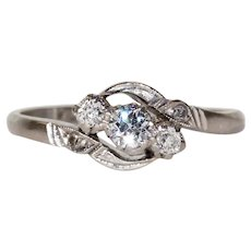 Antique Diamond Platinum Engagement Ring Bypass Style