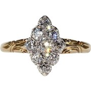 Victorian  Navette Old Cut Diamond Ring c. 1880
