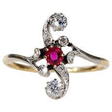 Edwardian French Ruby Diamond Ring Bypass