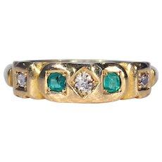 Victorian Diamond Emerald Ring Hallmarked 1897