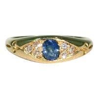 Antique Edwardian Sapphire Diamond 18K Ring Hallmarked 1904
