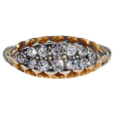 Victorian Diamond Gold Ring Double Row Stacking Ring