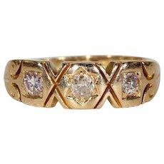Antique Victorian Gentleman's 3 Stone Diamond Ring