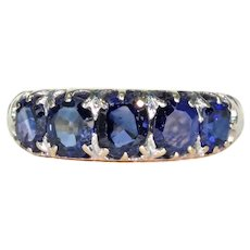 Victorian Natural Sapphire Ring 5 Stone 18k Gold