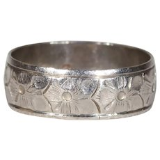 Vintage Flower Engraved Platinum Band from London