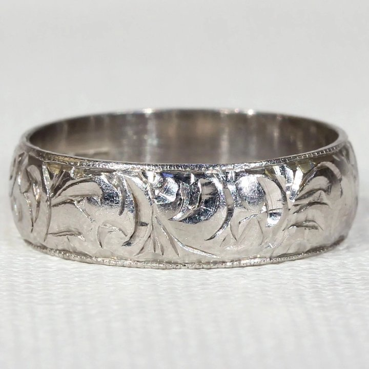 bands engraved image vintage floral u img art deco comfort band size wedding fit narrow pattern court ring platinum