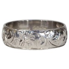 Vintage Engraved Platinum Wedding Band Ring Sz 6