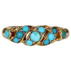 Victorian Turquoise Gold Scrolling Ring