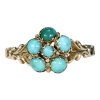 Victorian Turquoise Gold Forget Me Not Ring