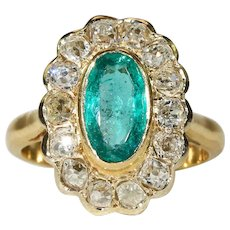 Antique French Emerald Diamond Cluster Halo Ring