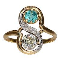Antique French Toi et Moi Diamond Emerald Ring 18k Gold Platinum