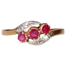 Antique French Ruby Diamond Gold ByPass Ring