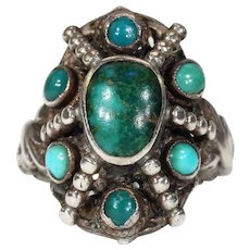 Arts & Crafts Turquoise Silver Cluster Ring by Zoltan White
