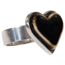 Vintage Anton Michelsen for Royal Copenhagen Silver Heart Ring