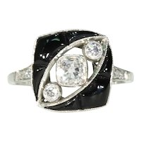 Art Deco Onyx Diamond Ring Platinum 1920s