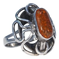 Bold 1960s Arts & Crafts Silver Amber Ring