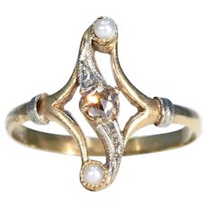 French Rose Cut Diamond Bypass Ring with Pearls