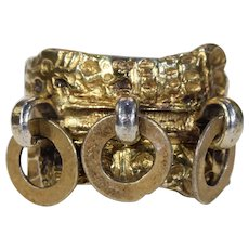 Antique Swedish Marriage Ring Silver Gilt c. 1720