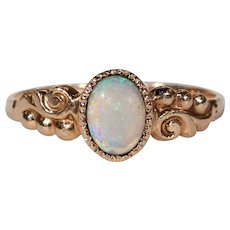Antique Edwardian Opal Solitaire Gold Ring