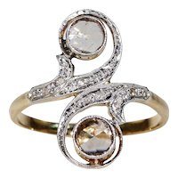 Antique French Rose Cut Diamond Toi et Moi Bypass Ring