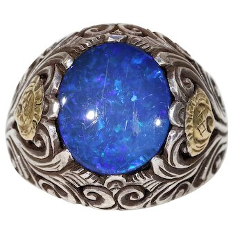 Arts & Crafts Opal Doublet Ring in Silver and Gold Floral Mount