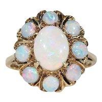 Vintage Opal Cluster Ring 9k Gold Hallmarked