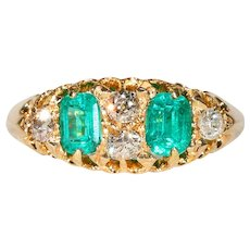 Edwardian Emerald Diamond Ring Hallmarked 1906 18k Gold