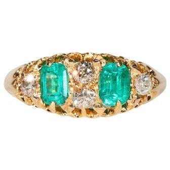 Edwardian Emerald Diamond Ring Hallmarked 1906 18k Gold