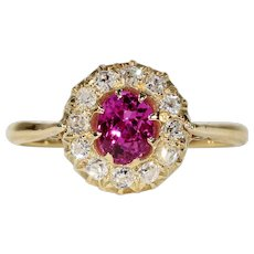 Vintage Ruby Diamond Cluster Ring