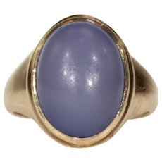 Edwardian Blue Chalcedony Ring 15k Gold