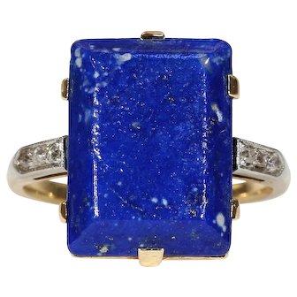 Art Deco Lapis Diamond Ring 18k Gold Platinum