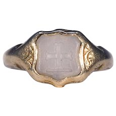 Victorian Intaglio Signet Ring 15k Gold Chalcedony