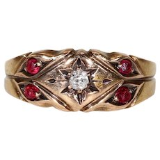 Victorian Ruby Diamond Gold Ring Hallmarked 1886