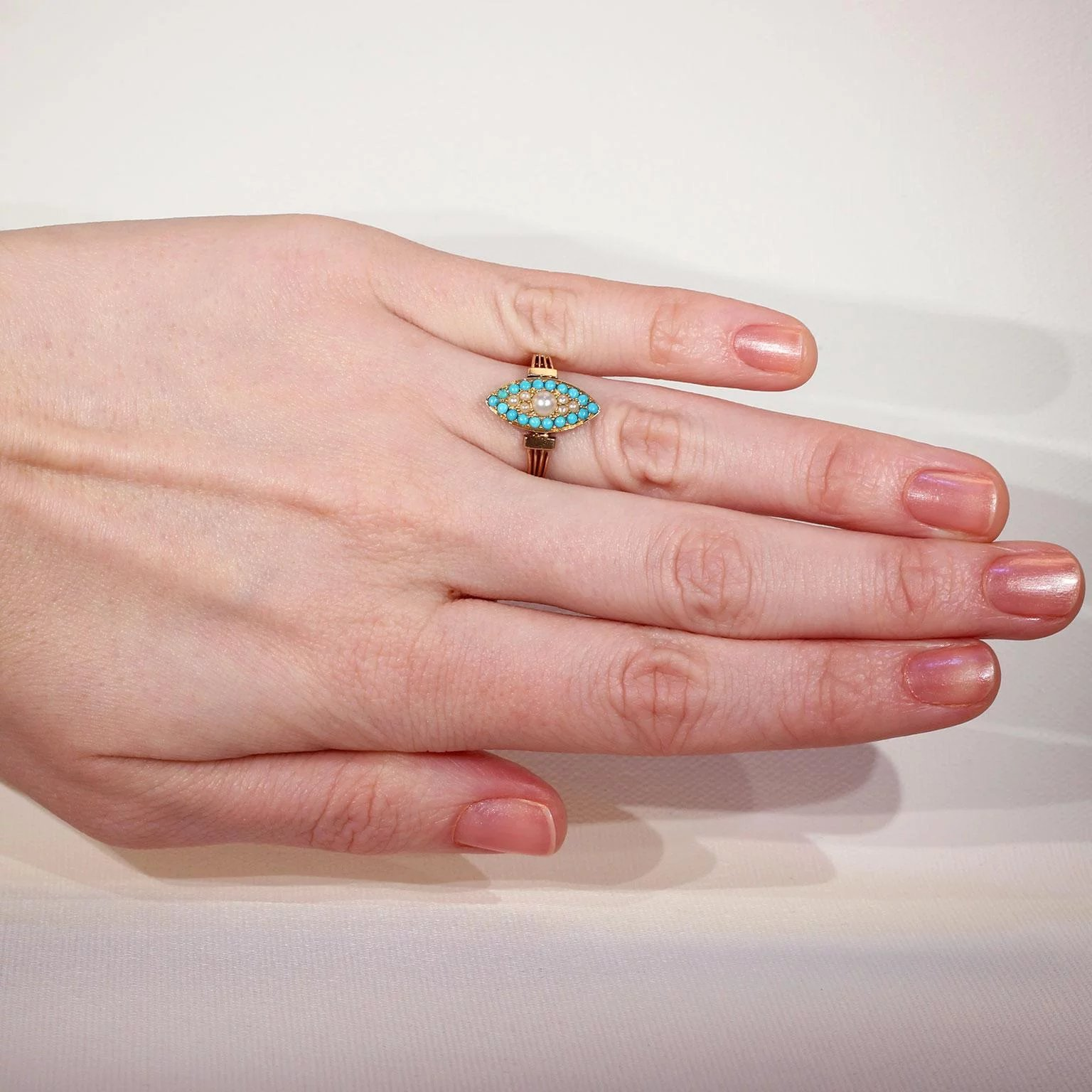 Antique French Navette Pearl Turquoise Ring : Victoria Sterling ...
