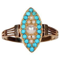 Antique French Gold Navette Pearl Turquoise Ring