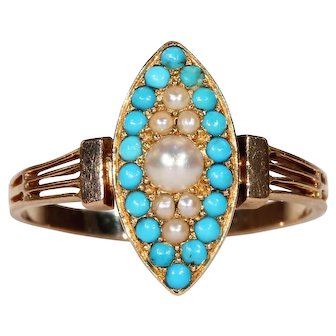 Antique French Navette Pearl Turquoise Ring