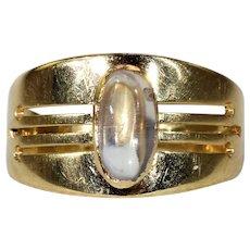 Vintage Moonstone Ring 18k Gold 1950s