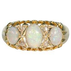 Antique Edwardian Opal Diamond Ring 18k Gold