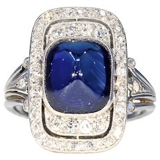 Fantastic Art Deco Sapphire Diamond Ring in Platinum