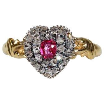 Victorian Diamond Ruby Cluster Heart Ring Hallmarked 1866