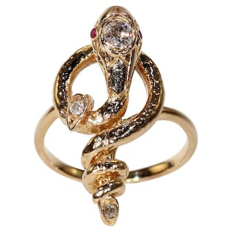 Unusual French Diamond Ruby Snake Ring Antique 18k Gold