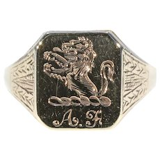 Early Engraved Men's Locket Ring English Lion Motif