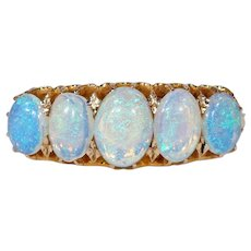 Victorian  Opal Gold Ring Half Hoop 5 Stone