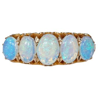 Victorian  Opal Gold Ring Half Hoop 5 Stone