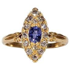 Victorian Navette Diamond Sapphire Ring 18k Gold